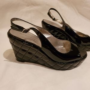 Marc Fisher patent leather Black wedge shoes